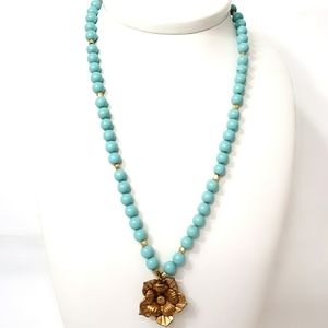 Express Turquoise Blue Bead Brass Flower Necklace